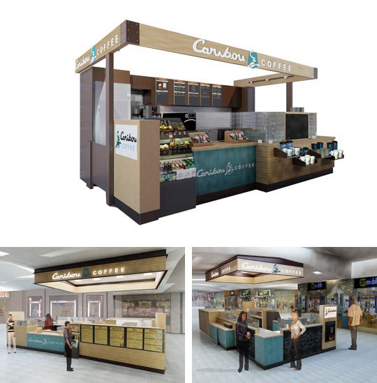 Caribou Coffee mall kiosk renderings